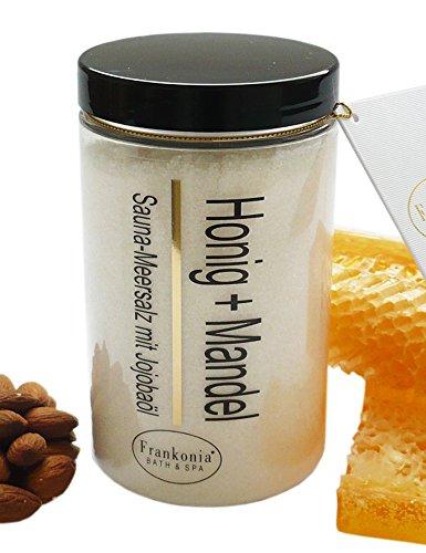 Lashuma Sauna Salz Honig Mandel mit Jojobaöl, Körperpeeling 400 g